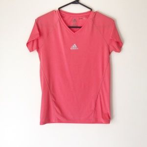 PINK ADIDAS CLIMALITE SHORT SLEEVE WORK OUT TOP